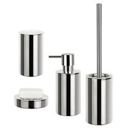 Σετ dispenser και ποτήρι και σαπουνοθήκη πορσελάνη/χρώμιο chrome