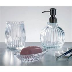 Set dispenser with glass and soap dish from glass