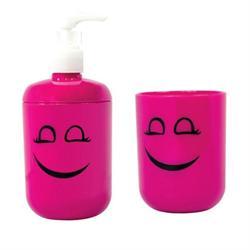 Σετ dispenser και ποτήρι πλαστικό φούξια smile