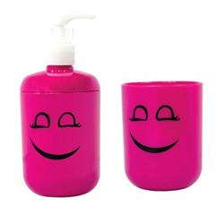 Set dispenser with glass plastic fuchsia smile