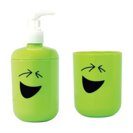 Set dispenser with glass plastic lime smile