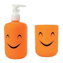 Σετ dispenser και ποτήρι πλαστικό πορτοκαλί smile