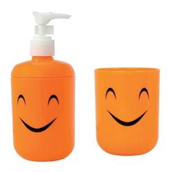 Set dispenser with glass plastic orange smile