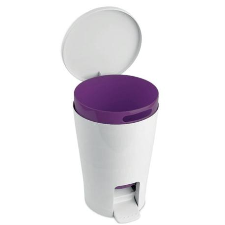 Plastic bin 5lt white purple for Purple bathroom bin