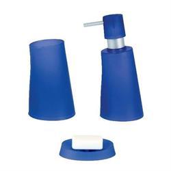 Σετ dispenser και ποτήρι και σαπουνοθήκη πλαστικό μπλέ σκούρο jelly