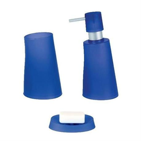 Set dispenser with glass and soap dish plastic dark blue jelly