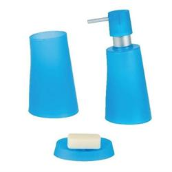 Set dispenser with glass and soap dish plastic light blue jelly