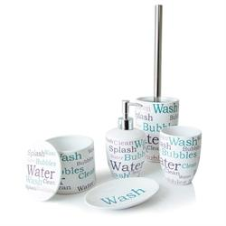 Set dispenser with glass and soap dish with box ceramic letters