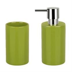 Σετ dispenser και ποτήρι κεραμικό πράσινο ceramic