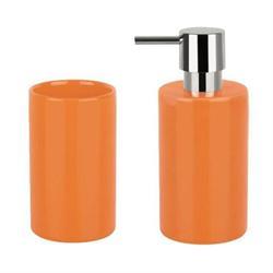 Σετ dispenser και ποτήρι κεραμικό πορτοκαλί ceramic