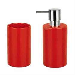 Σετ dispenser και ποτήρι κεραμικό κόκκινο ceramic