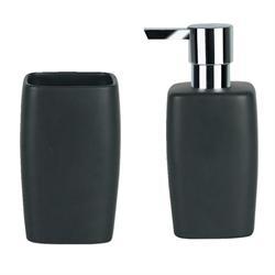 Σετ dispenser και ποτήρι κεραμικό μαύρο art