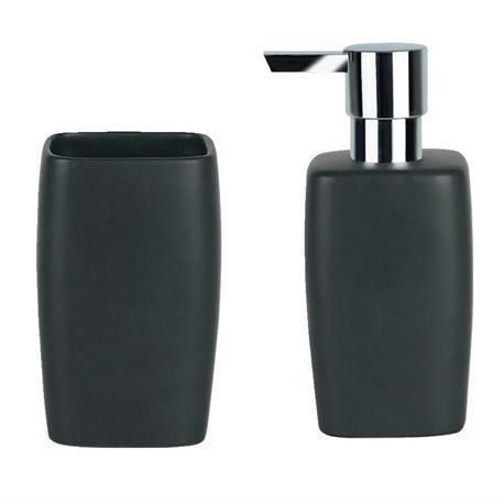 Set dispenser with glass ceramic black art