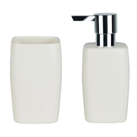 Set dispenser with glass ceramic white art