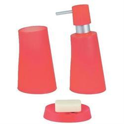 Σετ dispenser και ποτήρι και σαπουνοθήκη πλαστικό κοραλί jelly