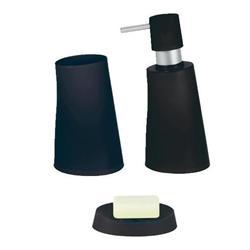 Σετ dispenser και ποτήρι και σαπουνοθήκη πλαστικό μαύρο jelly