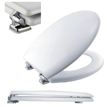 Toilet seat white wood 42Χ37 cm