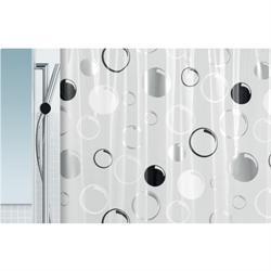 Κουρτίνα μπάνιου γκρί κύκλοι 100% pvc 180Χ200 cm