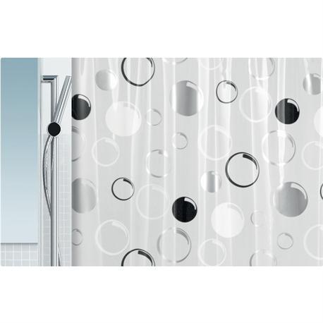 Shower curtain grey circle 100% pvc 180X200 cm