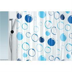 Κουρτίνα μπάνιου μπλέ κύκλοι 100% pvc 180Χ200 cm