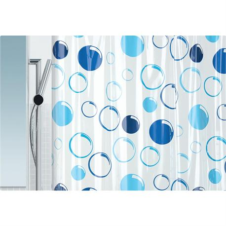 shower curtain blue circle 100 pvc 180x200 cm. Black Bedroom Furniture Sets. Home Design Ideas