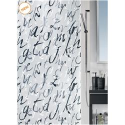 Shower curtain alphabet 100% peva 180X200 cm