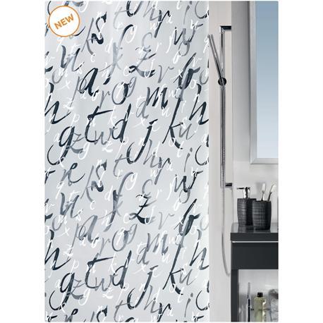 Shower curtain alphabet 100% peva 180X200 cm