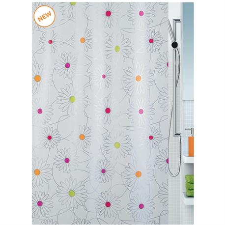 shower curtain daisy 100 peva 180x200 cm. Black Bedroom Furniture Sets. Home Design Ideas