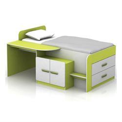 Σύνθεση παιδικό γραφείο-κρεβάτι άσπρο-lime 196Χ133Χ96