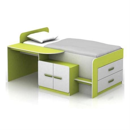Set desk with bed white-lime 196Χ133Χ96
