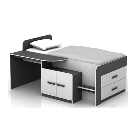 Set desk with bed white-grey 196Χ133Χ96