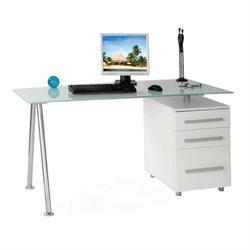 Γραφείο άσπρο με γυάλι και συρτάρια 150Χ80Χ75