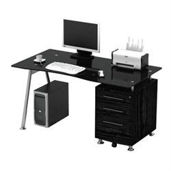 Γραφείο μαύρο με γυάλι και συρτάρια 150Χ80Χ75