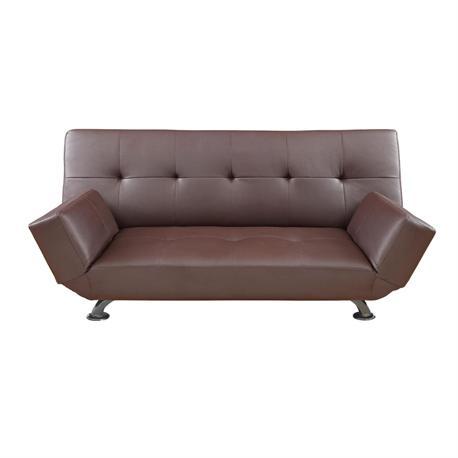 Sofa-bed dark brown PU