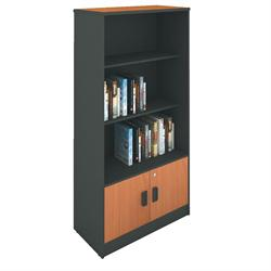 Glass doors for bookcase grey-cherry