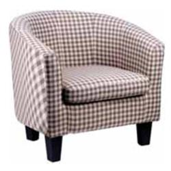 Πολυθρόνα με ύφασμα καρό μπέζ