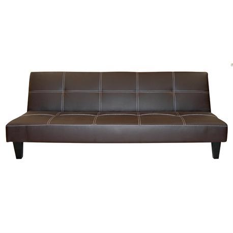 Καναπές -κρεβάτι σκ.καφέ PU CLICK CLACK