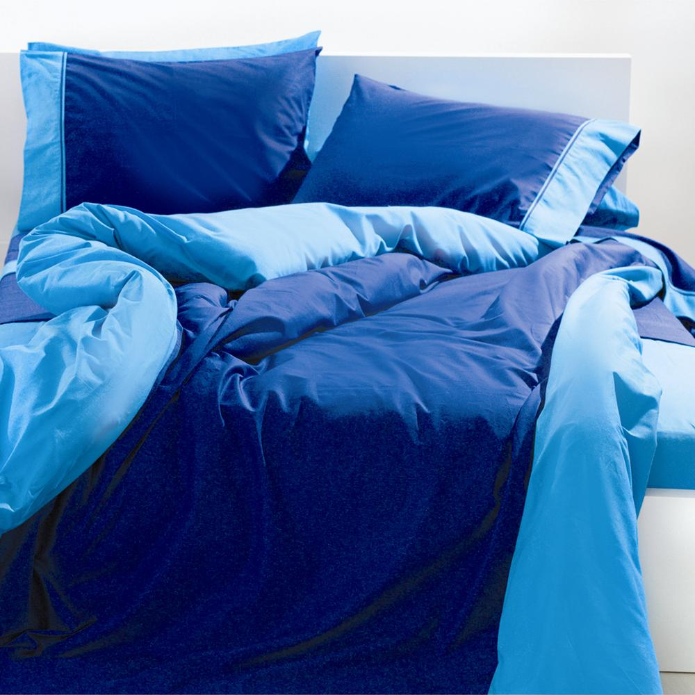 Duvet Cover Double 2 Colored Minimal Blue Water