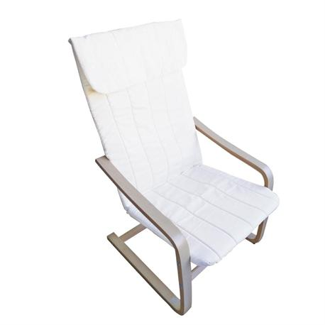 Armchair birch fabric white