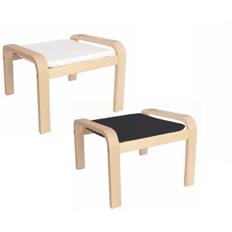 Footstool birch fabric white
