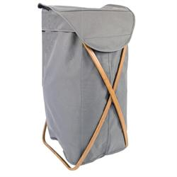 Laundry basket grey criss-cross with bamboo base 39Χ46Χ66 cm