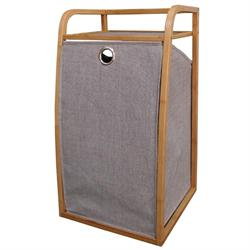 Laundry basket whit bamboo body 39Χ36,5Χ72 cm