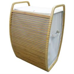Laundry basket with laminated waterproof case and bamboo body 40Χ60Χ35 cm