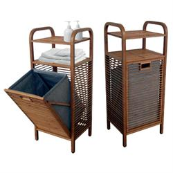 Laundry basket with 2 shelves with bamboo body 40Χ95Χ30 cm