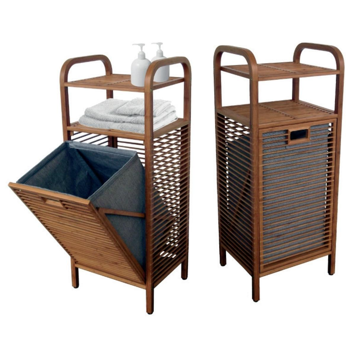 Laundry Basket With 2 Shelves With Bamboo Body 40 95 30 Cm