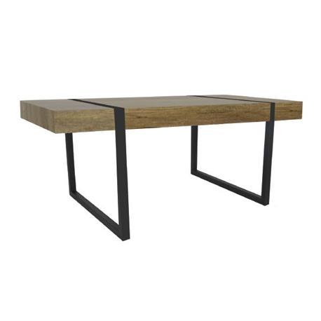 Τραπέζι steel βαφή μαύρη-απ.καρυδί δρυς