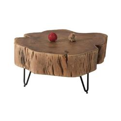 Coffee table steel black-acacia natural