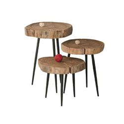 Table steel paint-acacia natural34cm