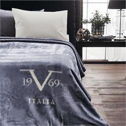 V19.69 Italia, ΚΟΥΒΕΡΤΑ VELOUR Υ/Π ΧΡΩΜΑ-VELLUTO Grigio