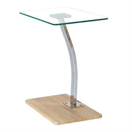 Lap Top table birch - clear glass